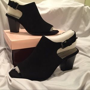 NEW Bandolino open toe suede booties